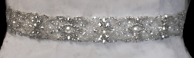 Add glitz to your wedding gown with this Stunning Crystal and Rhinestone Wedding Dress Ribbon Sash Belt - Affordable Elegance Bridal -