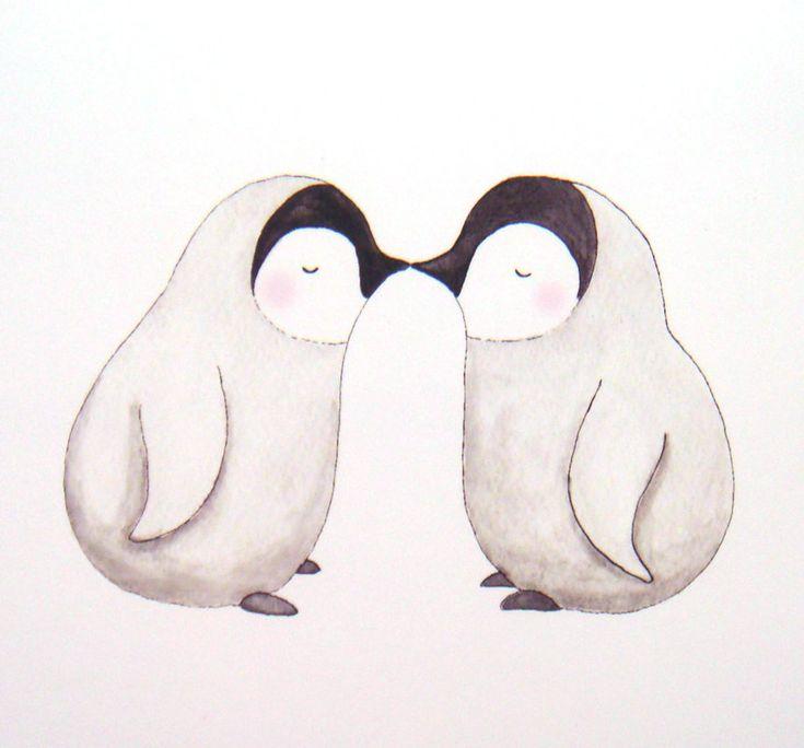 Adorable kissing penguins<3