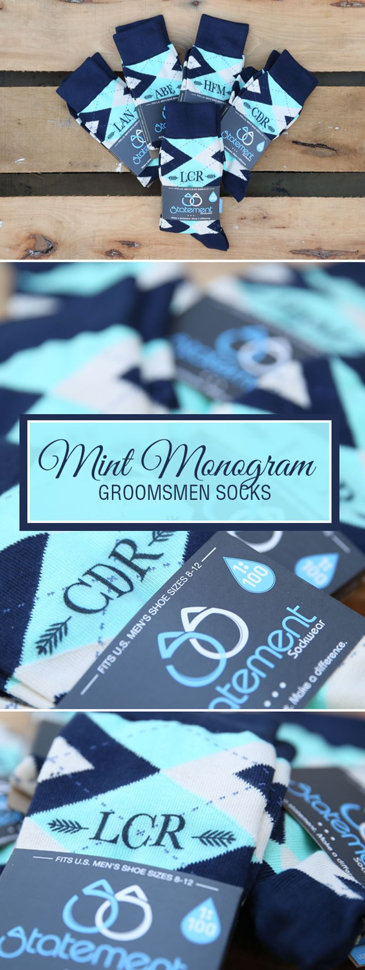 Looking for a way to customize your mint and navy wedding? We are now customizing our most popular wedding colors with wedding dates, wedding text and monograms. Give your groomsmen in your wedding a gift they will never forget that will always remind them of your big wedding day: custom mint groomsmen socks. Shop these mint, navy and burlap custom monogram socks and more.
