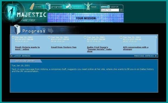 Majestic (2001) c'est un jeu vidéo qui créait une expérience transmédia à partir d'informations qui parvenaient au jouer par fax, par téléphone portable, par e-mail et par site web.