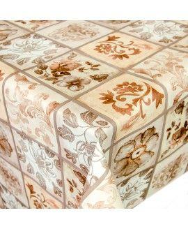 Wachstuch Tischdecke Meterware Motiv Blumen in Quadraten in Beige