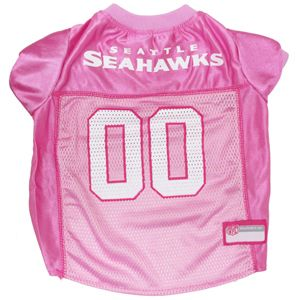 Collar Planet - Seattle Seahawks NFL Licensed Pink Dog Football Jersey (http://www.collarplanetonline.com/seattle-seahawks-nfl-licensed-pink-dog-football-jersey/) Show support for the Seattle Seahawks with this great looking pink jersey which features a screened-on city name and a small team logo on the front.