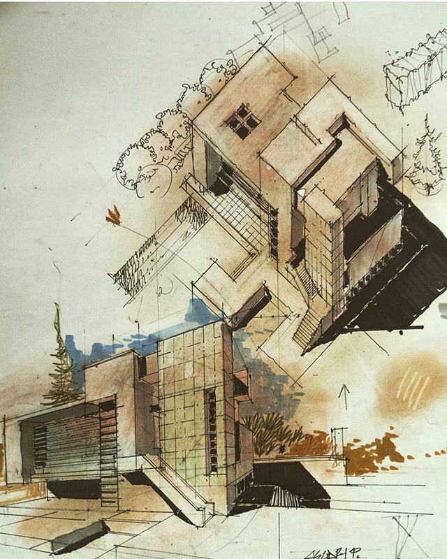 By @architectdrw #arch_more Follow @arch_more for more daily sketches!