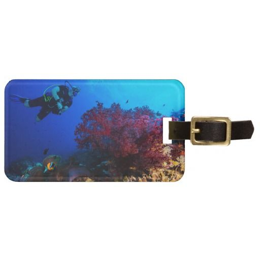 Awesome luggage tag featuring a diver admiring a beautiful red soft coral on Australia's Great Barrier Reef. #fish #coral #tropicalfish #reef #scuba #animals #marine #australia #luggage #greatbarrierreef