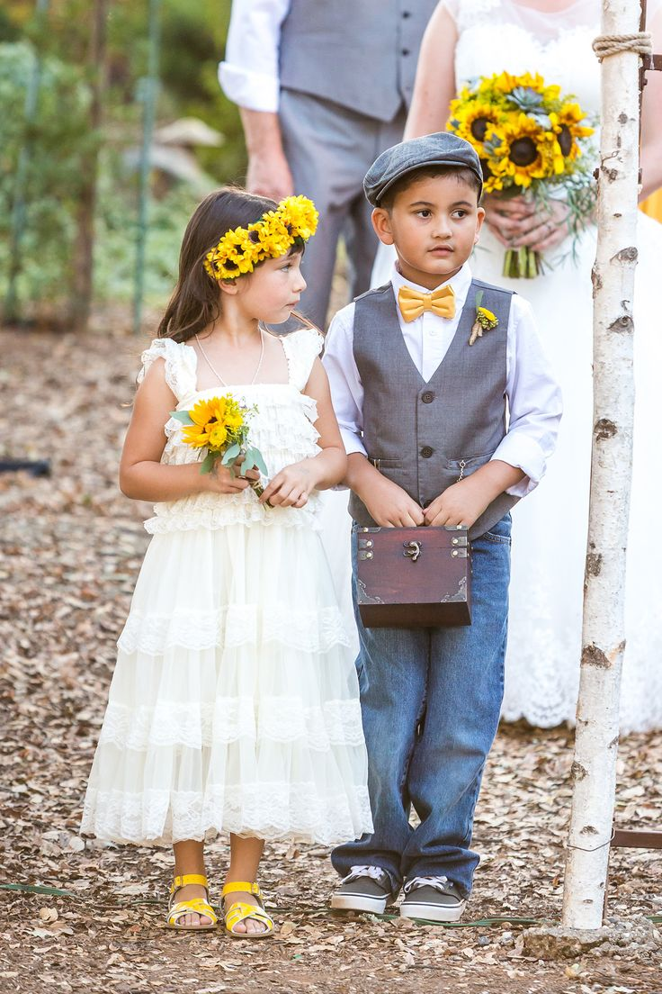 sunflower flower girl yellow grey ring bearer