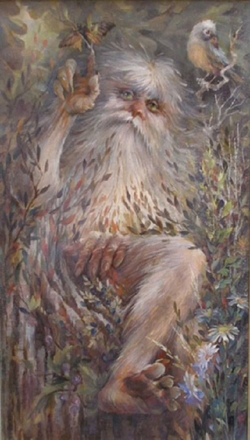 The Leshy is a male woodland spirit in Slavic mythology believed to protect wild animals and the forests. They usually appear as tall men, but have the ability to change size and shapeshift into any form, animal or plant. Leshies have beards made of living grass and vines, and are often depicted with a tail, hooves, and horns. The Leshy has pale white skin and dark green eyes. They are the lords of the forest and hold close bonds with gray wolves, bears, and all animal life.
