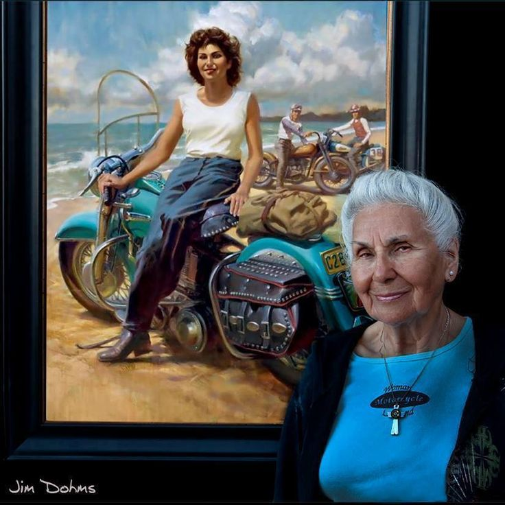 Happy 90th birthday to a matriarch of motorcycle history. As the daughter of a Harley dealership owner Gloria Tramontin Struck hopped on a bike at age 16 and has been riding ever since. She joined the Motormaids club in 1946 and rides every year to Daytona and Sturgis on her Harley Davidson Heritage. She is pictured here with the painting of herself at age 25 done by artist David Uhl of David Uhl Studios.