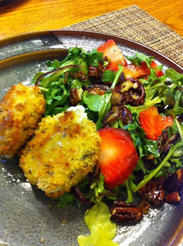 ... Baked Goat Cheese Salad with caramelized onions - mmmm! http
