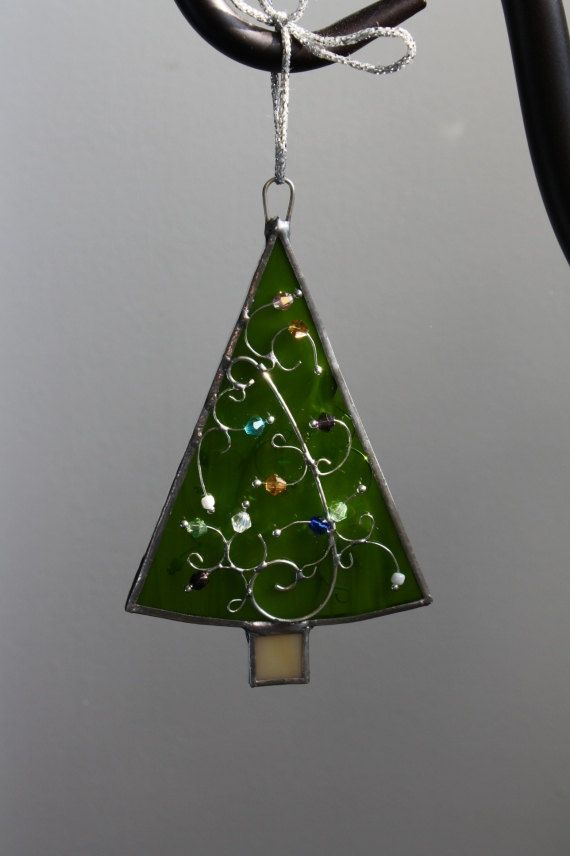 Christmas tree stained glass ornament trees