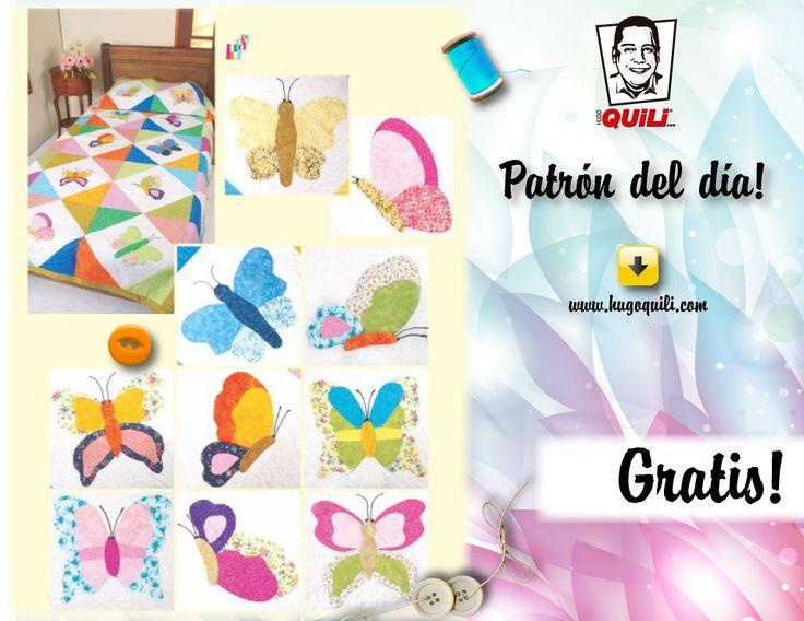 Descarga Completamente Gratis este Patrón - Patchwork (Colcha Mariposa ) http://www.hugoquili.com/27-patchwork