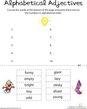 First Grade Comprehension Worksheets: Alphabetical Adjectives