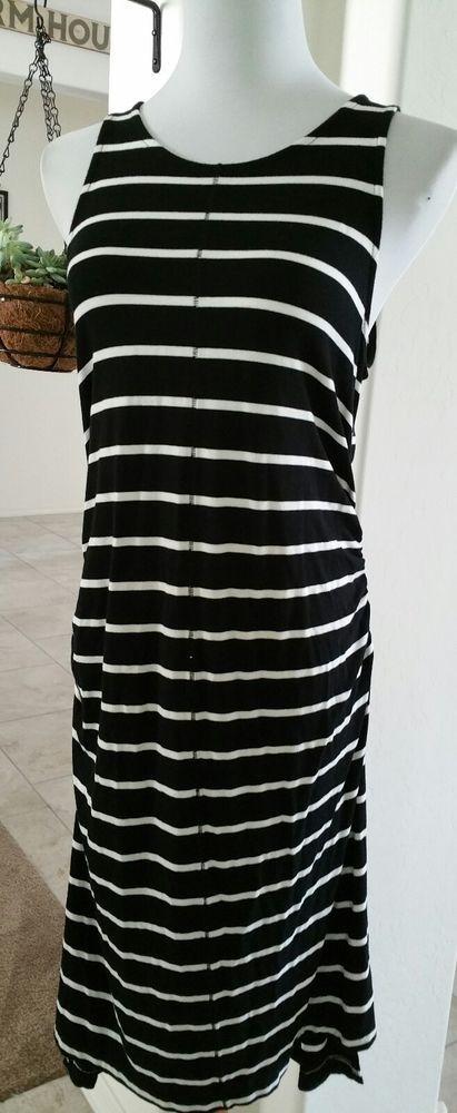 Liz Lange Maternity black and white stripe sleeveless dress size medium  #LizLangeMaternity #StretchBodycon #Casual