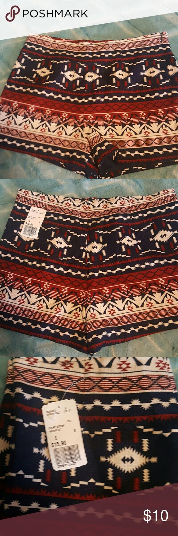 *NWT*!! FOREVER 21 AZTEC PRINT SHORTS Adorable shorts!! Brand new with tags attached. Size small. High waisted style. Zipper on side. Perfect for the 4th of July or just to show your patriotic side during the Summer!! Bundle to $ave!!! Forever 21 Shorts