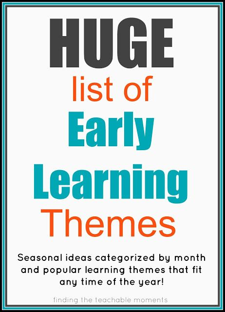 "Seasonal themes listed by month, list of ""anytime"" themes, and children's literature based themes (including seasonal selections from Five in a Row)."