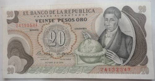 Ao 20 Pesos Banknote 1966 First Date (Colombia) to 30000 in PrecioLandia COP Colombia (6pvg5c)