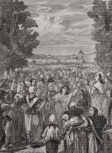 The Women's March on Versailles was one of the most significant events of the French Revolution. The march broke out on October 5, 1789, by women rioting over the over pricing and scarcity of bread. The march quickly became a mob of thousands, and effectively ended the independent authority of the king. The march was of political significance because  it was a stop to rising bread prices.