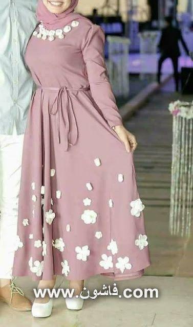 فستان سهرة محجبات بالورد الابيض لموضة 2017