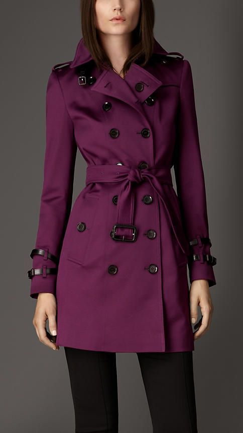 Mid-Length Leather Detail Dark Amethyst Trench Coat by Burberry