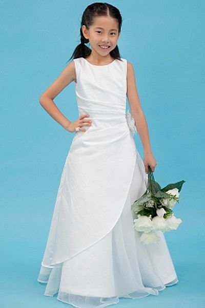 White Organza Square Flower Girl Dresses - Order Link: http://www.theweddingdresses.com/white-organza-square-flower-girl-dresses-twdn1099.html - Embellishments: Flower , Ruched; Length: Floor Length; Fabric: Organza; Waist: Natural - Price: 69.4USD