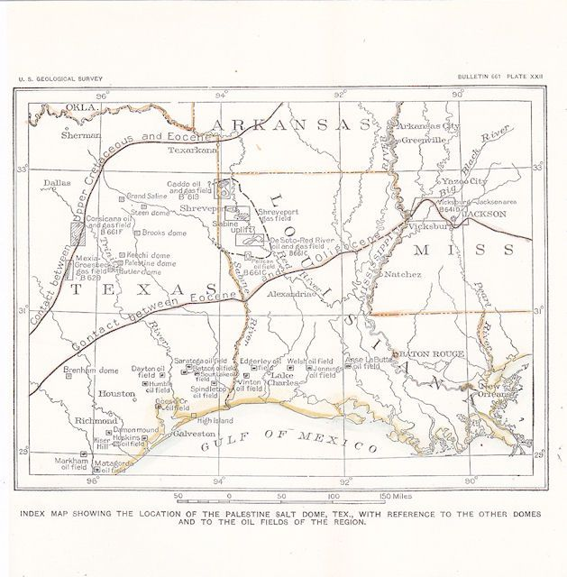 Texas Louisiana Mississippi Oil Amp Gas Field Map Palestine