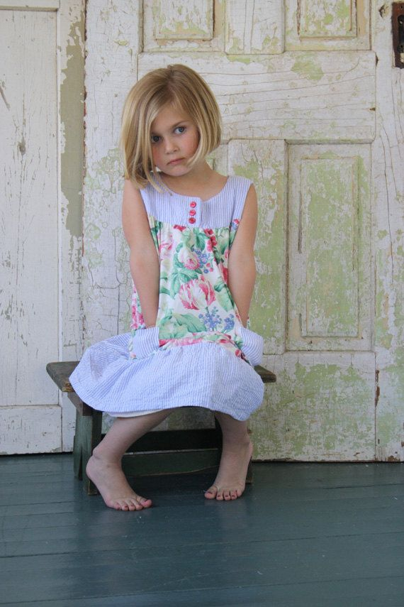 Yarn & Cloth Clothiers Toddler Girls Summer Dress 100% Cotton - Cream, Pink, Red, and Green Rose Garden Floral with Blue Menswear Stripe