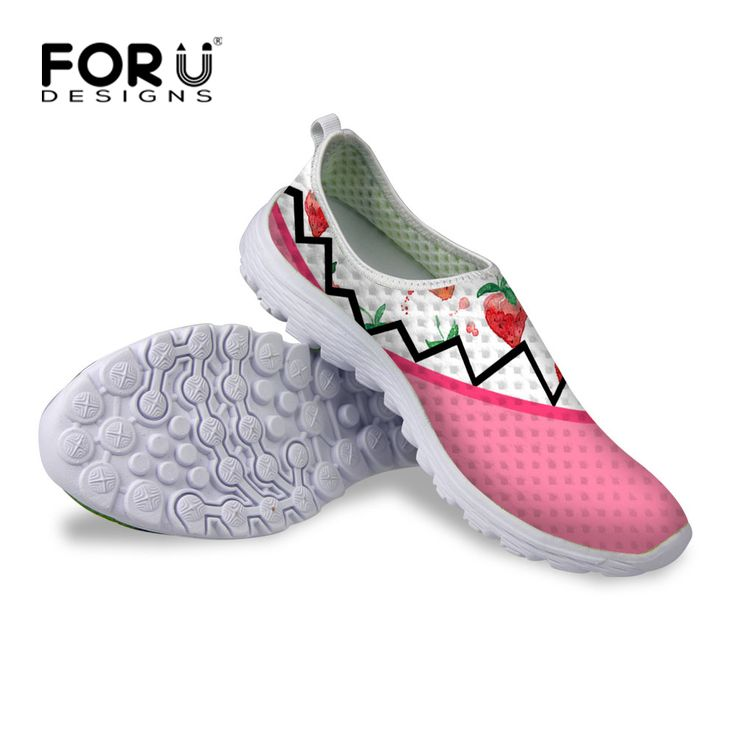 FORUDESIGNS Summer Women Casual Platform Shoes,Fruit Print Mesh for Ladies Girls Trainer Shoes Breathable Women Zapatillas mujer