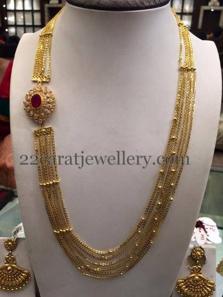 Jewellery Designs: Chandra Haram with Side Motif