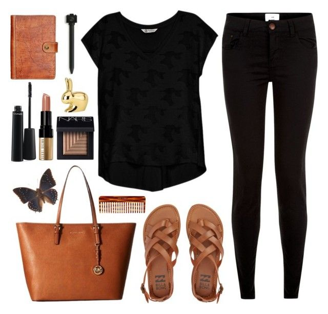 Untitled #865 by alissar13 on Polyvore featuring polyvore fashion style Bobeau New Look Billabong MICHAEL Michael Kors NARS Cosmetics MAC Cosmetics Bobbi Brown Cosmetics Mason Pearson Patricia Nash Ghidini 1961 clothing