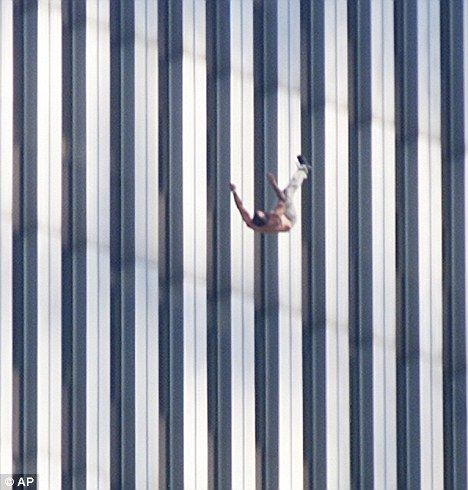 The first jumper is recorded plunging from the North Tower's 149th window of the 93rd floor on the north face of the building at 8.51am, just over four minutes after it was hit by the first hijacked Boeing 757 between the 93rd and 99th floors.