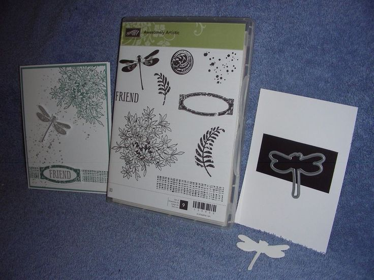stampin up AWESOMELY ARTISTIC & DRAGONFLY FRAMELIT-dies by dave-NEW-lot + card #StampinUp