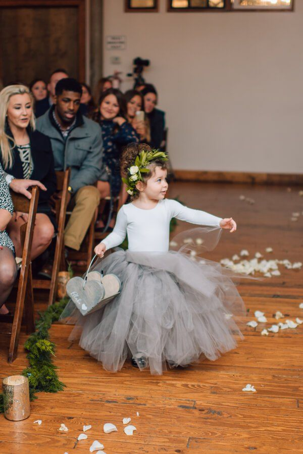 whimsical-greenery-wedding-flower-girl-grey-tutu