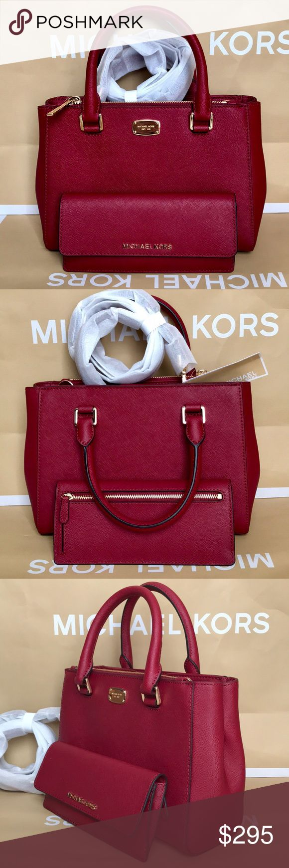 🌴Michael Kors Set🌴 100% Authentic Michael Kors Purse Crossbody and Wallet, brand new with tag!😍😍😍color Cherry Red Michael Kors Bags Crossbody Bags http://feedproxy.google.com/fashiongobags