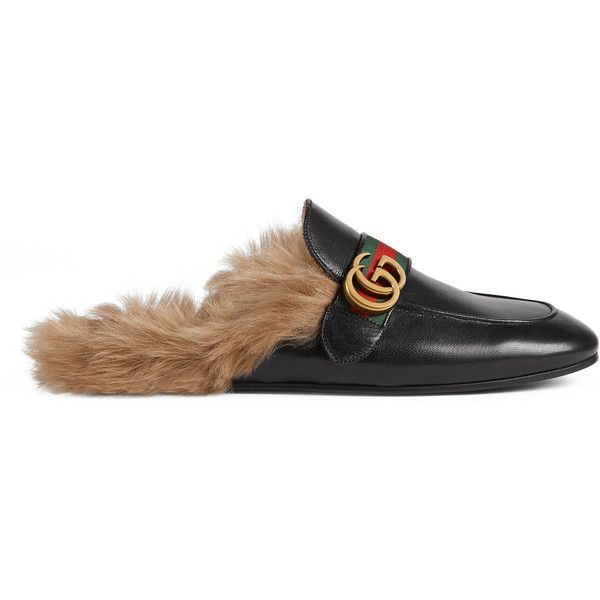 Gucci Princetown Leather Slipper With Double G ($975) ❤ liked on Polyvore featuring men's fashion, men's shoes, men's slippers, shoes, gucci, men, slippers, mens fur lined shoes, mens leather slippers and mens leather shoes