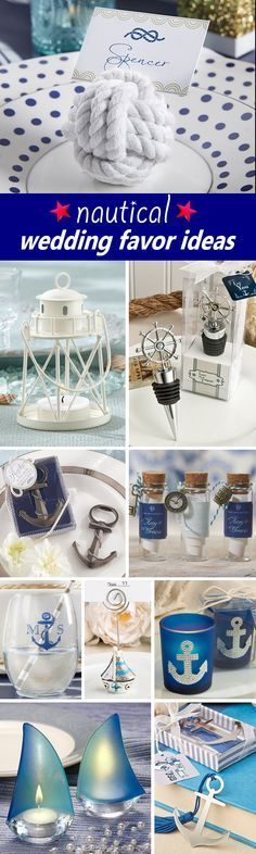 Love the Lighthouse look for the centerpieces or maybe decoration near the cake or gift table. 50 Nautical Wedding Favors your guests will love!