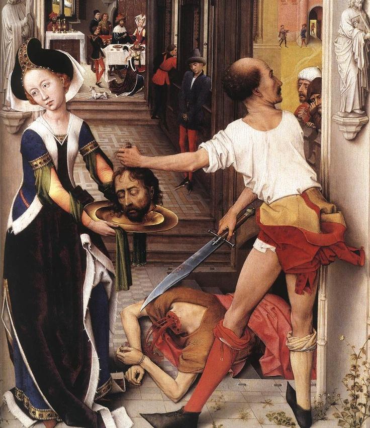 Rogier van der WEYDEN. St John Altarpiece  1455-60 (Right panel, detail)