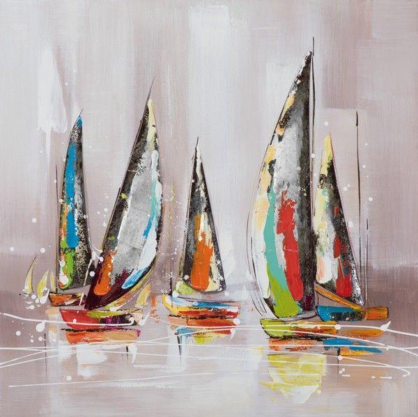 schilderij 80x80 boten | Schilderijenshop