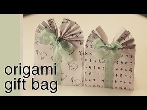Origami Gift Bag Tutorial Learn how to make these cute origami gift bags! Easy to follow video tutorial. Perfect as easter gift box, party favour, wedding favour!