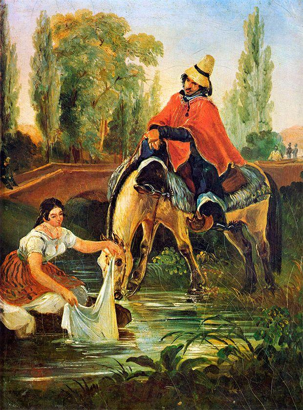 Mauricio Rugendas - El Huaso y la Lavandera, 1835, óleo sobre tela, 30 x 23 cm
