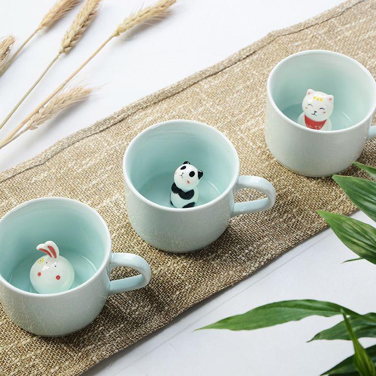 Creative 230ML 3D kawaii cartoon animal Ceramic milk Cup cute Panda Coffee Mug birthday Gift  Price: 12.46 & FREE Shipping  #lifestyle #girls #clothes