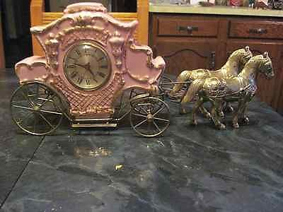 Vintage Cinderella Electric Carriage Clock Porcelain