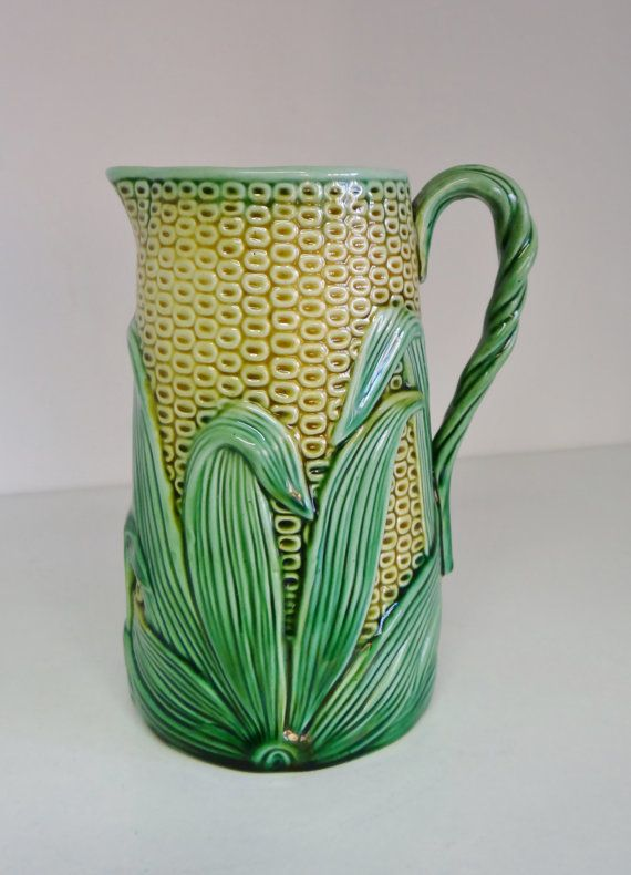 Vintage Pitcher Victorian Majolica Corn Maize Jug Top by crabtulip