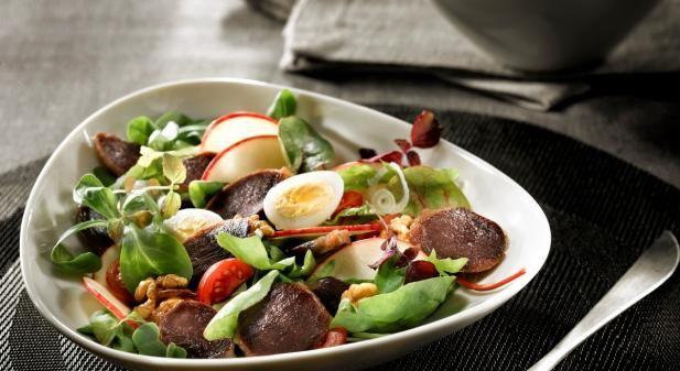 Recette - Salade de gésiers de canard confits lafitte et pomme fraîche  - Notée 5/5 par les internautes