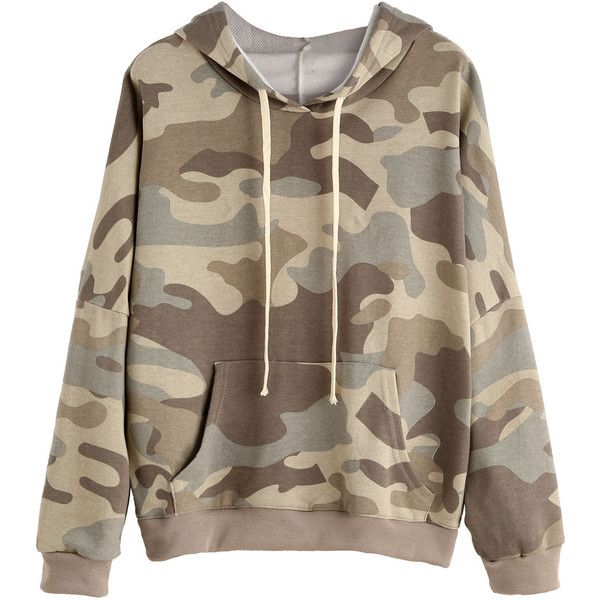 Camo Print Drop Shoulder Drawstring Hooded Pocket Sweatshirt ($20) ❤ liked on Polyvore featuring tops, hoodies, sweatshirts, multicolor, camo pullover, camouflage hoodies, patterned hoodies, camouflage hooded sweatshirts and camo hoodies