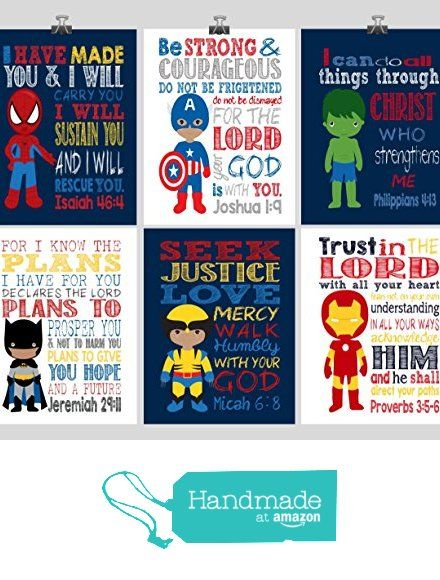 African American Superhero Set of 6 - Christian Wall Art Print - Captain America, Ironman, Hulk, Batman, Wolverine, Spiderman - Bible Verse Nursery Playroom or Childrens Room Decor from Pixie Paper https://www.amazon.com/dp/B01N58HLOV/ref=hnd_sw_r_pi_awdo_vyetybEF2A0BK #handmadeatamazon