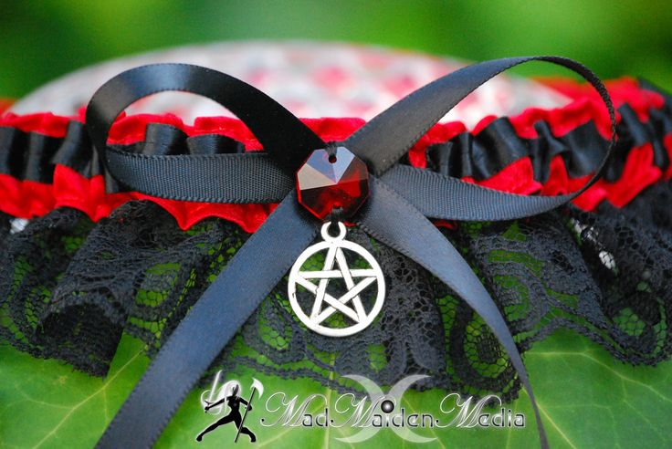 Handfasting Pagan Witch Wedding  Bridal Garter  Red Satin Black Lace with Red Prism Crystal  Pentacle Charm. $24,99, via Etsy.