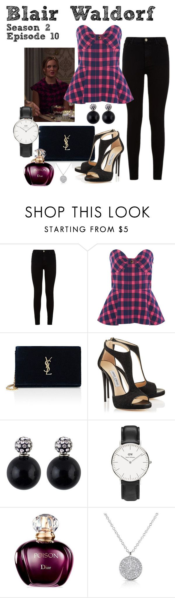 """Gossip Girl - Blair Waldorf - Season 2 Episode 10 - Houndstooth"" by deathcab4kuz on Polyvore featuring 7 For All Mankind, Tanya Taylor, Yves Saint Laurent and Daniel Wellington"