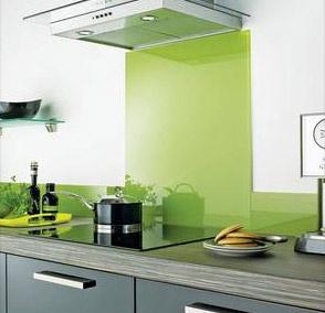 green tempered glass backsplash