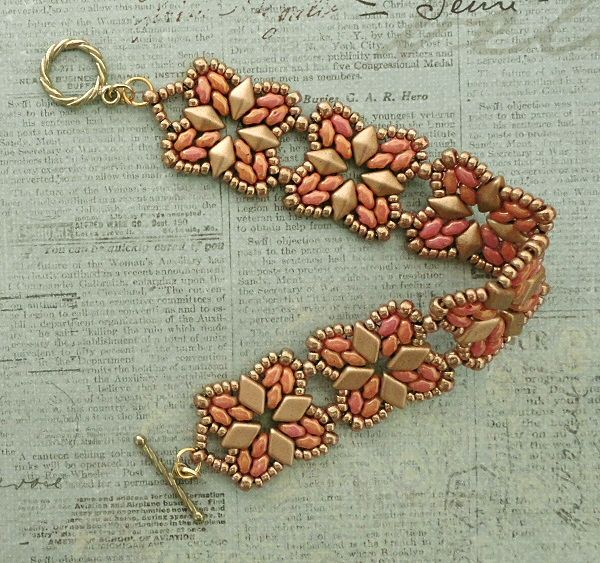 Linda's Crafty Inspirations: Bracelet of the Day: Roundabout - Rose & Gold