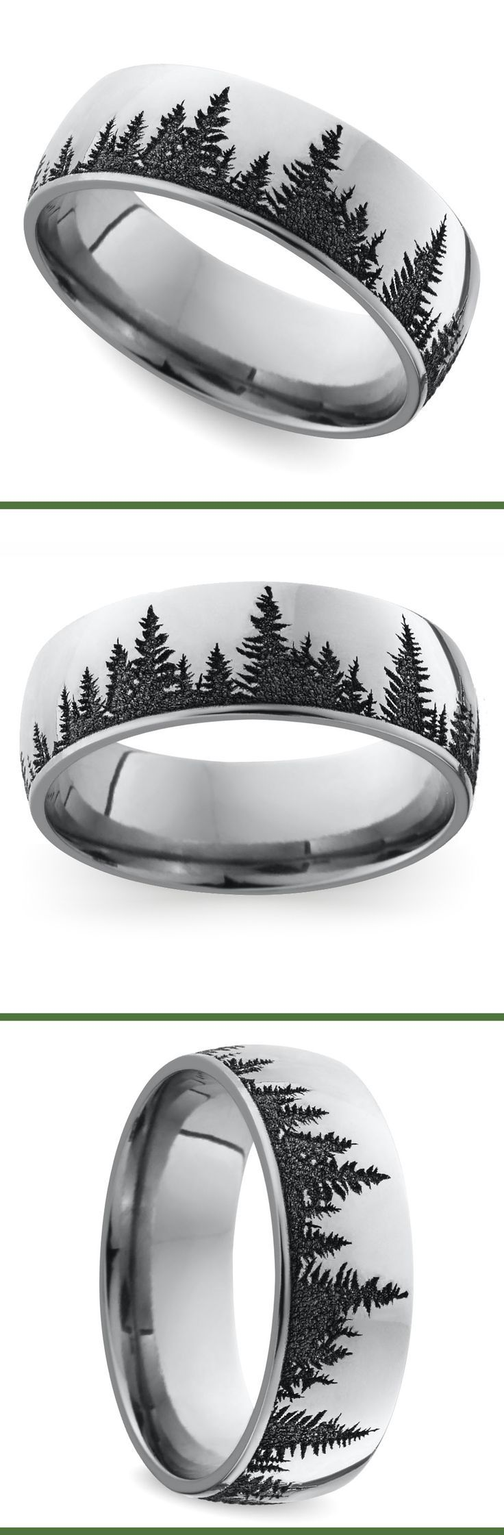 gay men gay wedding bands I want to marry a man whose dream wedding ring looks like this This domed 7 mm band features a serene pine forest pattern laser carved into cobalt for a