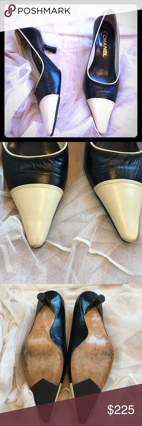 Classic black and ivory CHANEL heels!  Holiday Sale!! ❤️️ Black CHANEL leather heels. Ivory cap toe with ivory piping. Fit like a larger 35. These have been lovingly worn; some creasing in the soft leather and slight markings at top of ivory toe. Toe pads put on bottom sole for traction. Some writing on bottom of shoe. Heels are in nice shape and hard to see imperfections when on. Absolutely stunning shoe; price reflects wear, please no low ball offers; reasonable offers only  CHANEL Shoes…